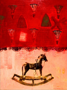 The wooden horse in a pink room