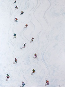 Downhill Colorful Skiers