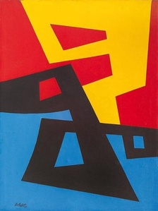 Formas en amarillo, rojo, negro, y azul