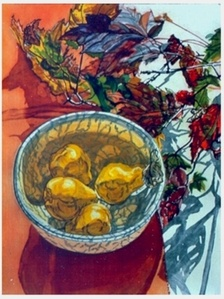 Pears and Autumn Leaves