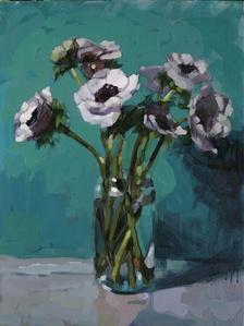 Anémones blanches, fond vert