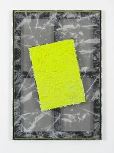 Untitled (backwards slanted yellow texture crackle piece on black translucent mesh crease w/ carbon-dazzle frame)