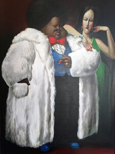 Man in Fur Coat with Lady in Green
