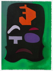 Untitled (Green, orange and black abstract)