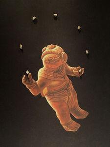 Astronauta Maya haciendo malabares con meteoritos