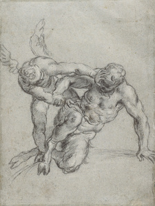Cupid Overpowering Pan (recto), Head of a Monk, Caricature of a Man in Profile (verso)