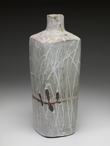 Square vase, nuka glaze over iron slip with brush decoration