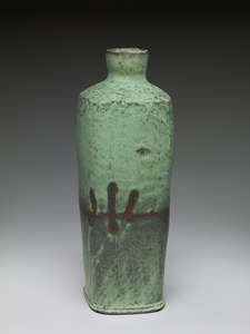 Square vase, copper glaze with handprint resist