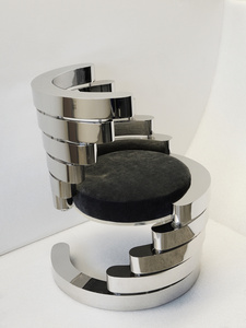 Rotation Armchair in Nickel plated metal with black leather