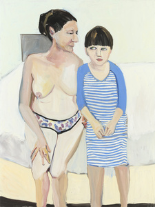 SELF-PORTRAIT WITH ESME IN A STRIPED NIGHTIE