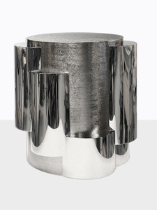 Round Cilindros Cocktail table Nickel Plated Metal