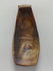 Spoon form dish, natural ash glaze with kaolin slip