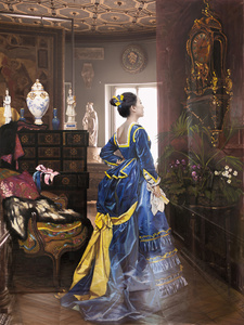 The Costume of Painter - Woman in blue dress, wall clock 3D