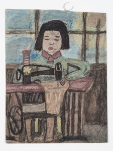 Untitled (Pulp drawing girl sewing)