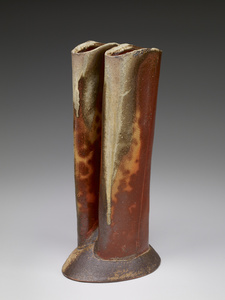 Double chimney vase, anagama natural ash glaze with kaolin flashing slip