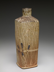 Square vase, shino glaze over iron slip with brushwork