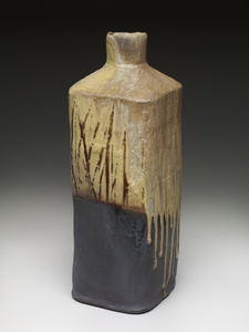 Square vase, yellow glaze black slip with natural ash and brush decoration