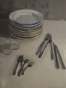 Stacks of Plates with Flatware and Glasses