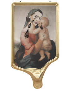 CRYING PORTRAIT OF TATJANA PATITZ AS A RENAISSANCE MADONNA WITH HOLY CHILD (AFTER RAFFAELLO)