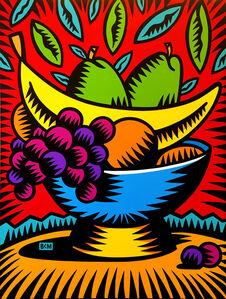 Fruit in Blue Bowl
