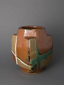 Square vase, kaki glaze