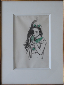 Young girl in a green dress