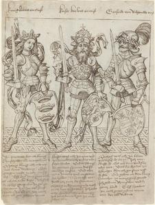 King Arthur, Charlemagne and Godfrey of Boulogne