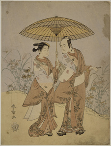 Play at the Nakamuraza theatre in the 8th month of 1768; Two Actors: Ichikawa Yaozo II in the role of Hanshichi and Sagawa Kikunojo in the role of Sankatsu