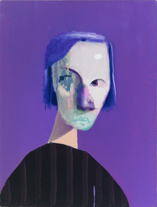 Untitled Portrait with Nine Stripes and Purple Drip