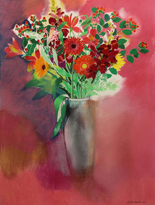 Bouquet of Flowers (Grey Vase, Rose Ground)