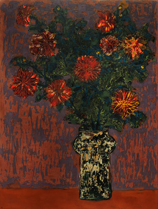 Dahlias on Red Table