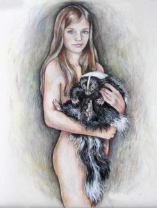Girl with skunk