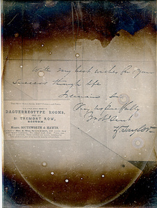 Composition of Zachary Taylor Letter and S&H Business Card