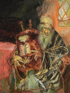 Rabbi with Torah with Stained Glass Window