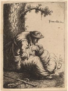 Beggar Woman Fleaing a Boy