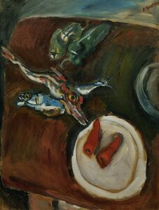 Still-life with fish, peppers and carrots
