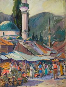 Market Scene with Minaret, Sarajevo