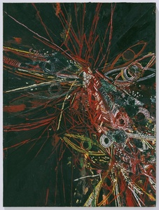 Untitled (Red Over Black Face Diagonal Cut 775)