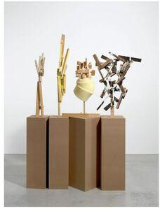 """""""Literarisches Quartett""""  1.- sculpture: 90 x 64 x 30 cm  2.- sculpture: 113 x 25 x 25 cm  3.- sculpture: 89 x 25 x 26 cm  4.- sculpture: 80 x 46 x 33 cm  4 bases, each one: 120 x 40 x 40 cm"""