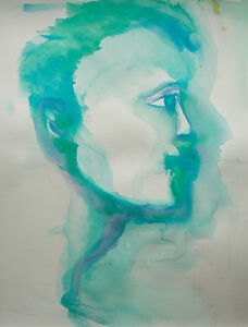 Man's Face in Blue