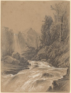 Mountain Landscape, Stream and Waterfall