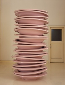 No Title (stacked plates, pink)