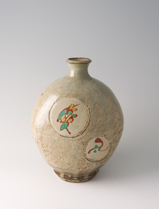 Bottle, rope and slip inlay with wax resist overglaze enamel decoration