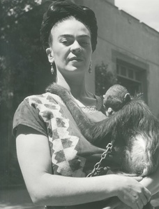 Frida in Front of Studio with Monkey, Coyoacan