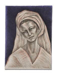 Mujer con rebozo blanco