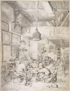Peasants Playing Backgammon and Merry-Making in a Tavern