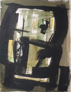 Untitled (Black Squares with Green)
