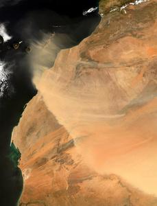 Sandstorm in the Western Sahara, Aqua, March 3, 2004.