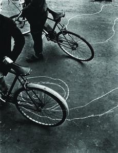 Bicycle and graffiti, Portland Road, North Kensington, London, 1957