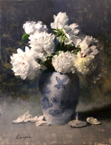 Blue Porcelain with Peonies